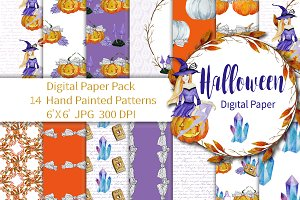 Halloween Digital Paper Magic