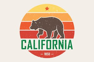 California t-shirt with grizzly bear