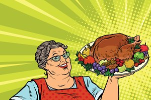 Grandma with a Christmas Turkey