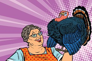 Holiday grandma with a live Turkey