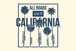 California t-shirt design