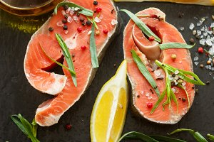 Raw fresh salmon steaks