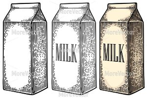 Box carton package MILK