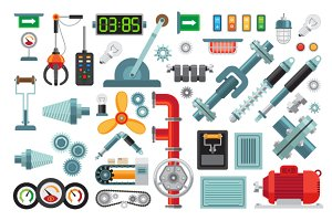Machinery flat icons