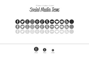 Glitter Grayscale Social Media Icons