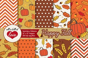Autumn Fall Digital Paper Hand drawn