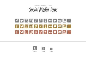 Glitter Metallic Social Media Icons