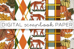 Fall Leaves Fox Digital Paper