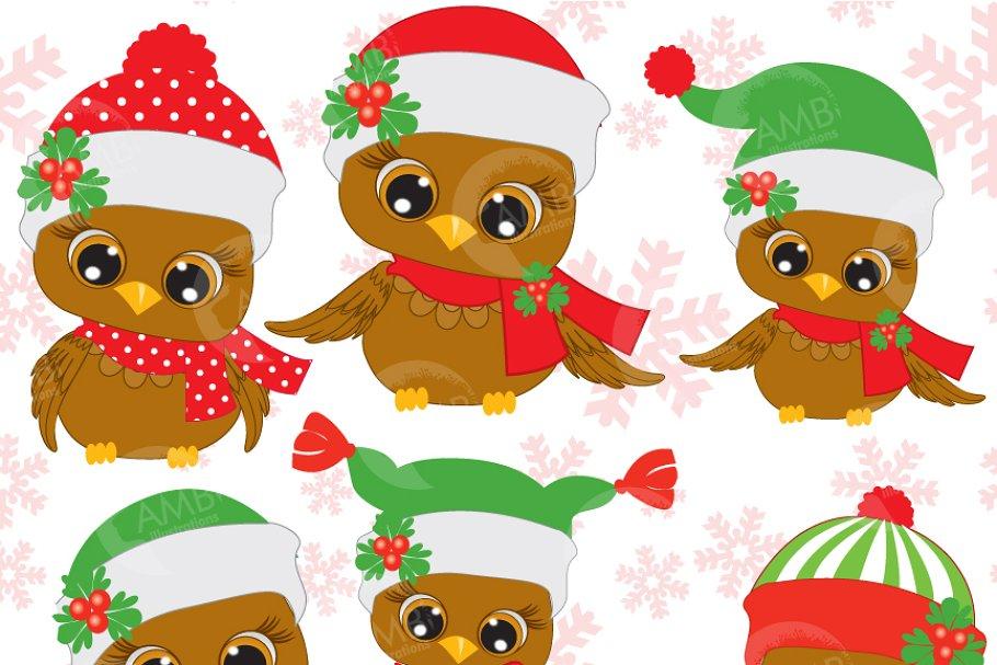 Christmas Clip Art Cute.Six Cute Christmas Owls Clipart 352 Illustrations