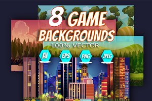 8 Level Game Backgrounds Set