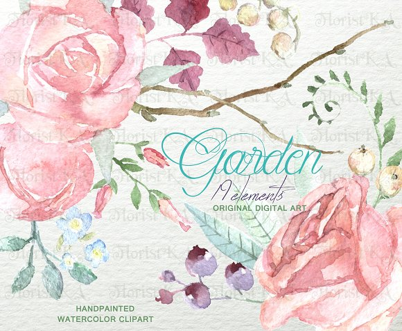Mint Garden. Rustic Clipart F-07 - Objects