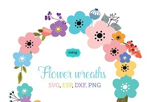 Flower wreaths vector clipart FLWR1