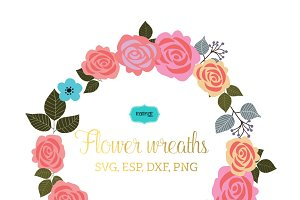 Flower wreaths vector clipart FLWR2