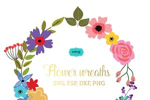 Flower wreaths vector clipart FLWR3