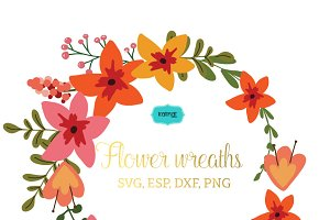 Flower wreaths vector clipart FLWR4