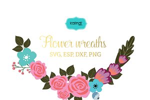 Flower wreaths vector clipart FLWR5