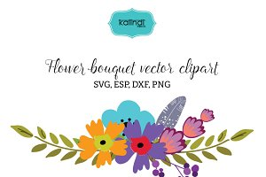 Flower bouquet vector clipart FLWR11