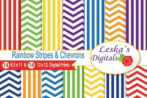 Rainbow Stripes and Chevron Patterns