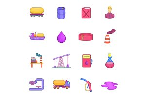 Oil industrial icons set