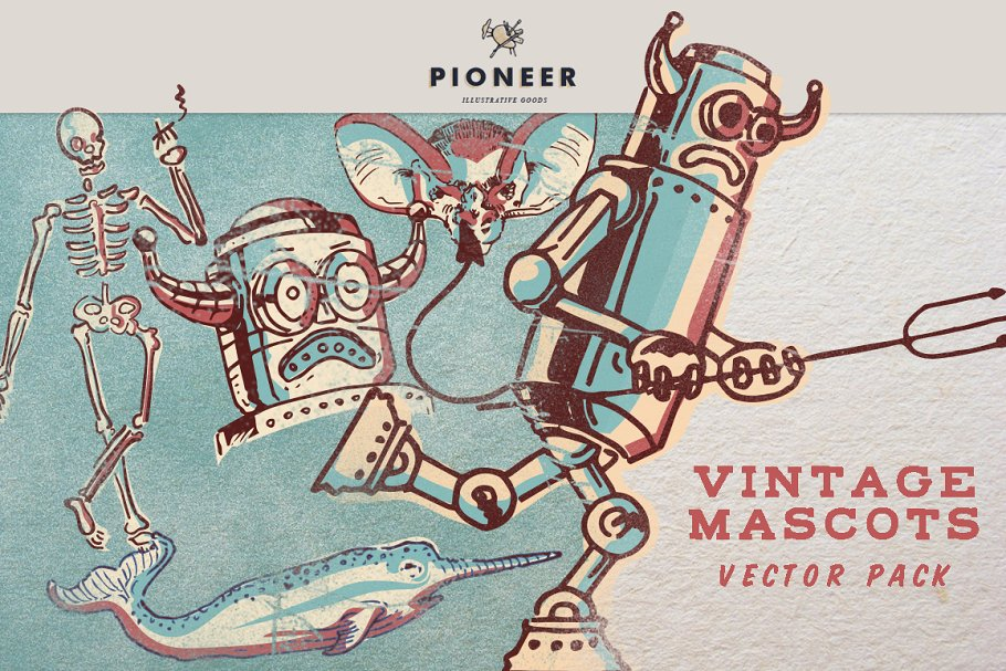 Vintage Mascots Vector Pack in Illustrations - product preview 8