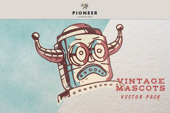 Vintage Mascots Vector Pack in Illustrations - product preview 2