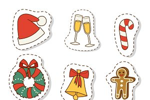 Christmas icons symbols vector