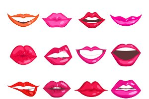 Female lips isolated vector set