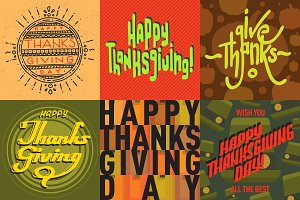 Thanksgiving card vector set