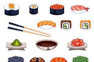 Sushi rolls icons food vector