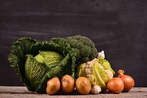 cabbage, cauliflower , broccoli, potato, onion