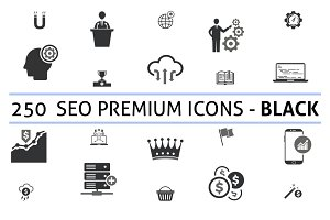 250 Seo Premium (Black) Icons