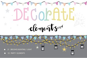Decorate elements for bunting /light