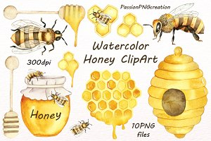 Watercolor Honey Clipart