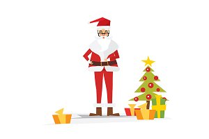 Christmas Santa Claus with Gift Box