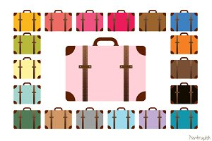 Colorful suitcase clip art