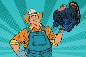 retro farmer with a Turkey