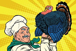 Retro chef with a live Turkey