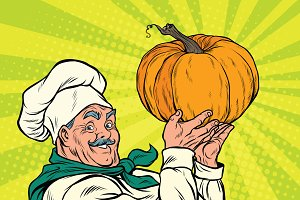 Retro cook with pumpkin