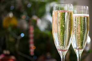 Flute with Champagne, Xmas Concept