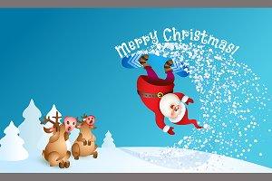 Santa snowboarding with Reindeer