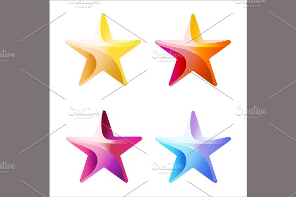 Set of Colorful stars in Illustrations