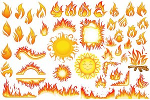 Set of flame fire and sun