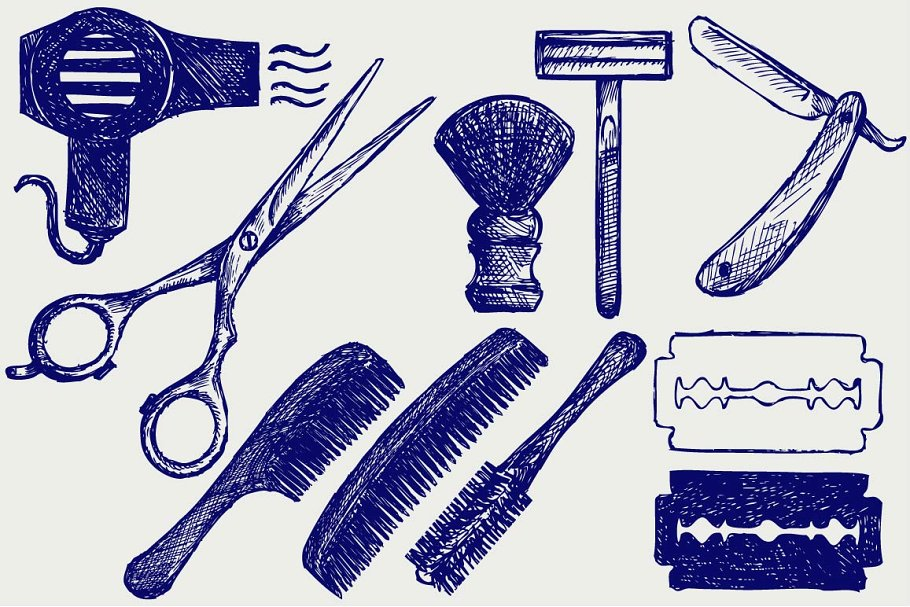 Hair Cutting Tools Drawing 52