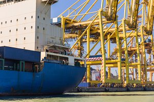Cargo Ship and Cranes
