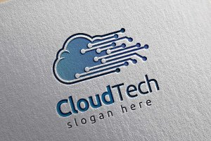 Cloud Tech Logo, Cloud Internet logo