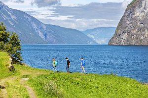 Hiking along a Fjord in Norway