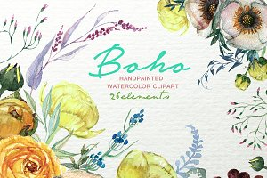 Boho Watercolor Floral Clipart F-49