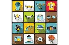 New technologies icons set