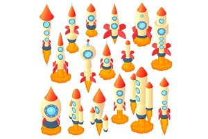 Rocket icons set, cartoon style