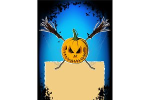 Broom pumpkin and spider web